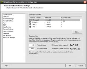 vCenter Server statistics configuration dialog