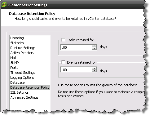 vCenter Server database retention settings