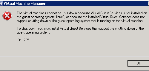 Cannot shut down Linux VM from SCVMM