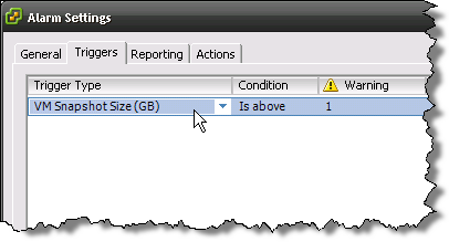 VM Alarm for Snapshot Size