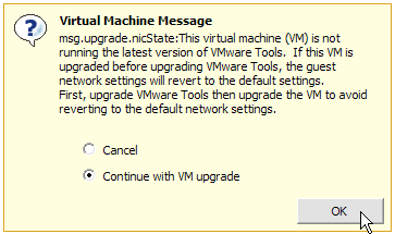 VM hardware upgrade warning message