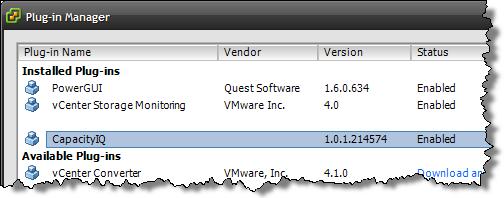 CapIQ vSphere Client plugin