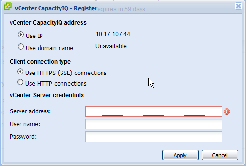 Register vCenter Server with CapIQ