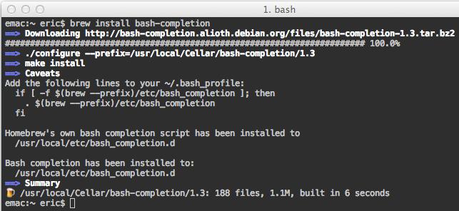 Homebrew bash-completion